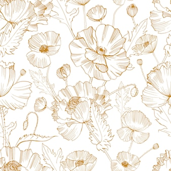 Botanical seamless pattern with gorgeous blooming wild poppy flowers hand drawn with yellow contour lines on white background.