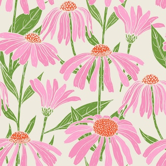 Botanical seamless pattern with gorgeous echinacea flowers, stems and leaves on light background.