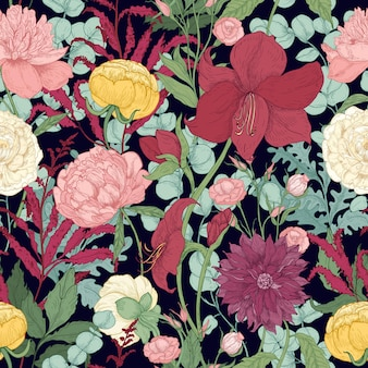 Botanical seamless pattern with gorgeous garden and wild floristic flowers and flowering herbs on black background.