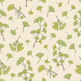緑のイチョウ葉と種子を持つ植物のシームレスなパターン。