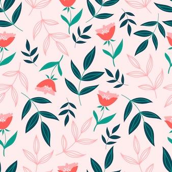 緑の葉と植物のシームレスなパターン。葉と花の壁紙。花の背景。