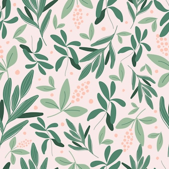 Botanical seamless pattern with green leaves and pink flowers