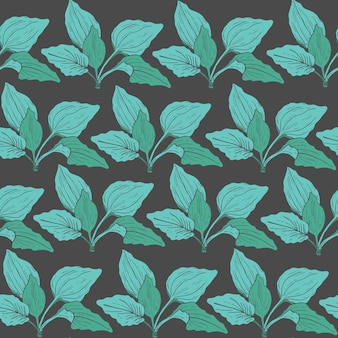Botanical seamless pattern with green plantain leaves. medicinal herbaceous plant hand drawn in vintage style.