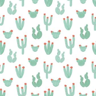 白い背景の上の手描きの緑のサボテンと植物のシームレスなパターン