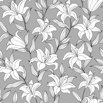 灰色の背景に手描きの輪郭の白いユリの花と植物のシームレスなパターン。