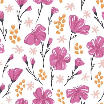 手で植物のシームレスパターン描画ピンクの花