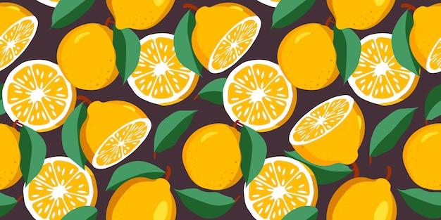 Ботанический бесшовный образец с лимонами, целыми и нарезанными, ветками и листьями