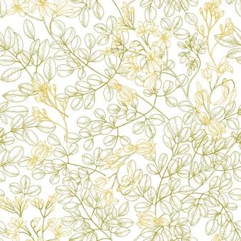 Botanical seamless pattern with moringa oleifera leaves and flowers