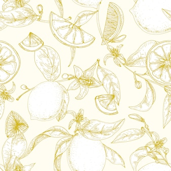 Botanical seamless pattern with ripe lemons, branches with blooming flowers and leaves hand drawn with contour lines
