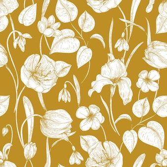 Botanical seamless pattern with spring blooming garden flowers hand drawn with contour lines on yellow background.