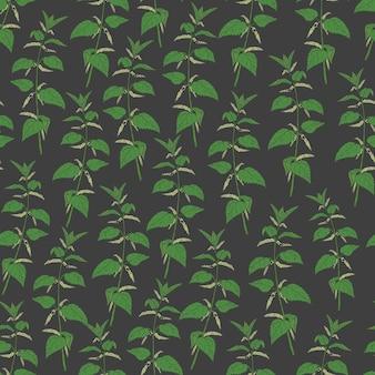 Botanical seamless pattern with stinging nettle on black