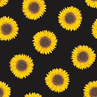 ひまわりの頭を持つ植物のシームレスなパターン。花が咲く自然な背景や黒の背景に手描きの栽培作物。