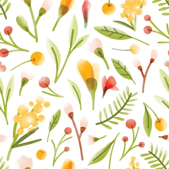 半透明の咲く夏の花、ベリー、葉が白い背景に散らばっている植物のシームレスなパターン