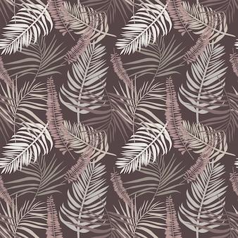 熱帯の葉と枝を持つ植物のシームレスなパターンボヘミアンエンドレスベクトルモダンなテクスチャ