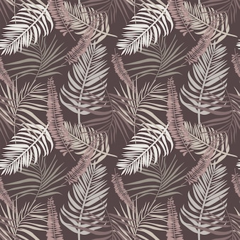 Botanical seamless pattern with tropical leaves and branches bohemian endless vector modern texture
