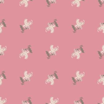 白い菊の花の形をした植物のシームレスなパターン。ピンクのパステル背景。ネイチャープリント。テキスタイル、ファブリック、ギフトラップ、壁紙のフラットベクタープリント。無限のイラスト。