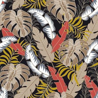 Botanical seamless tropical pattern with beautiful red and beige leaves and plants