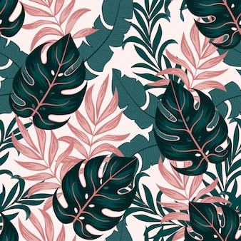Botanical seamless tropical pattern with bright plants and leaves on a light background