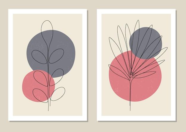 熱帯の葉の壁アートの植物セット大文字の1行の抽象的な現代アルファベットフォント