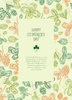 Botanical st patricks day festive poster with text in rectangular frame and sketch irish clover