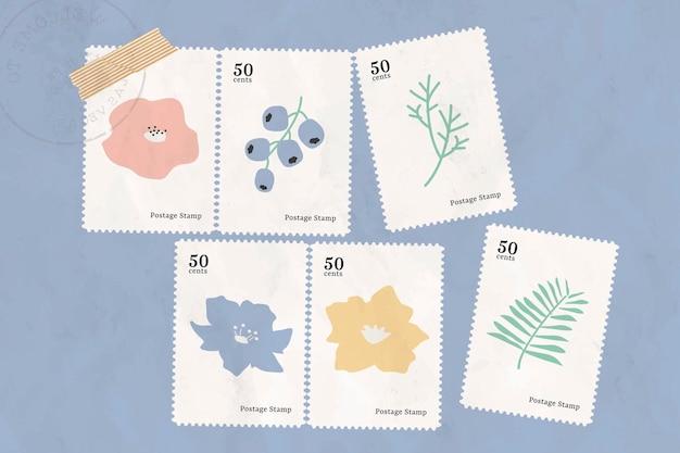 Collezione di francobolli botanici su sfondo blu vettore