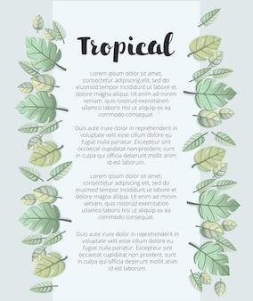 야자수 잎과 이국적인 식물이있는 식물 여름 열대 판매 전단지