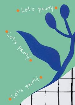 招待カードのペーパークラフトと植物テンプレートベクトル