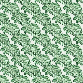緑の斜めのモンステラ要素が印刷された植物の熱帯のシームレスなパターン。パステルカラーの背景。テキスタイル、ファブリック、ギフトラップ、壁紙のフラットベクタープリント。無限のイラスト。
