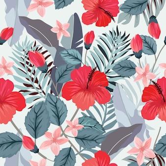 植物の熱帯の花と葉のシームレスなパターン。