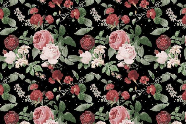 植物のバレンタインのバラのパターン水彩イラスト