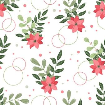 Ботанический вектор бесшовный образец с растениями и цветами