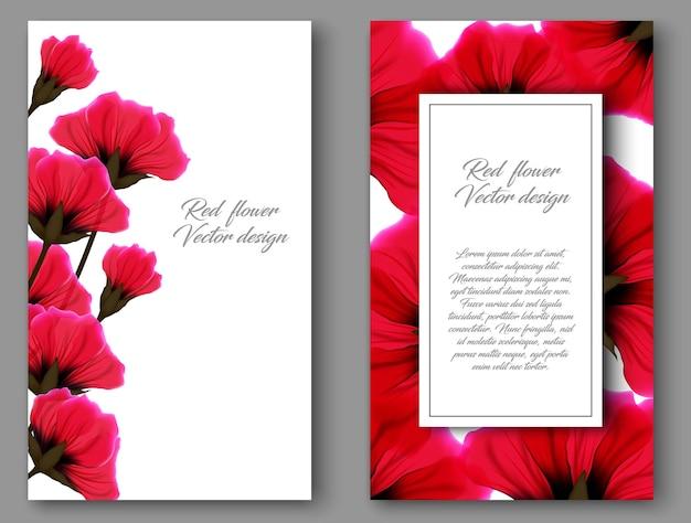 Ботанический вертикальный баннер с красным цветком. дизайн для натуральной косметики, товаров для здоровья. может использоваться как поздравительная открытка или приглашение на свадьбу. цветочная винтажная открытка Premium векторы