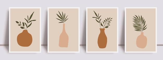 Набор абстрактных принтов ботанического искусства стены