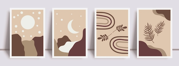Botanical wall art abstract vector. foliage line drawing. neutral boho art print set. minimal mid century wall art print for bedroom decor. gallery decor poster, terracota colors. vector illustration