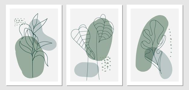 ボタニカルウォールアート自由奔放に生きるスタイルのセット。抽象的な形で描く熱帯の葉の線画。
