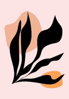 植物の壁の芸術。自由奔放に生きるミニマリストを抽象的な形で印刷します。抽象的な家の装飾、花柄ボヘミアンアートワーク、ベクトル