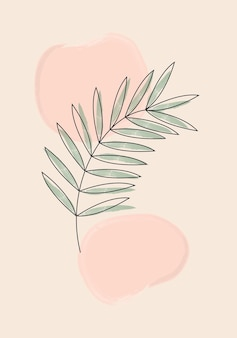Ботаническая настенная живопись. печать в стиле минимализма в стиле бохо с абстрактной акварельной формой. абстрактный домашний декор, цветочные богемные произведения искусства, вектор