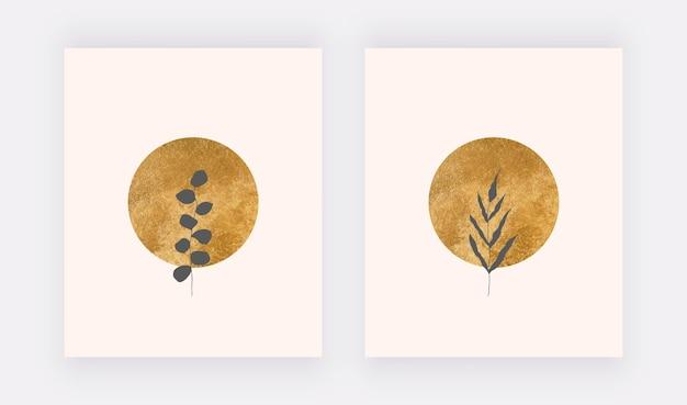 Растительные принты на стенах с золотыми кругами и черными листьями