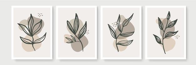 植物の壁アートセット。抽象的な形で自由奔放に生きる葉の線画の描画。最小限の自然な壁の装飾