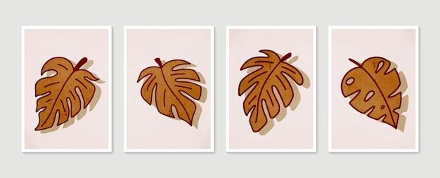 植物の壁アートセット。現代アートポスターのコレクション。最小限の自然な壁の芸術。