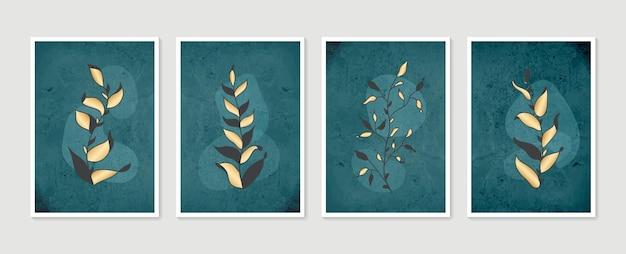 식물 벽 예술 세트 현대 미술 포스터 컬렉션 최소한의 자연 벽 예술