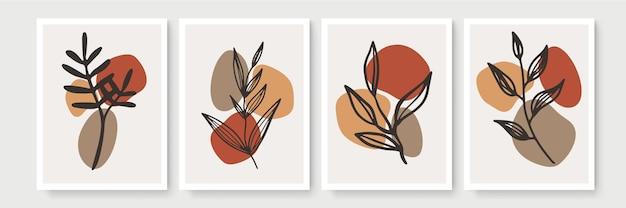 植物の壁アートセット。アースカラーの自由奔放に生きる葉の線画の抽象的な形で描画します。印刷、カバー、壁紙、最小限の自然な壁の芸術のための抽象的な植物アートデザイン