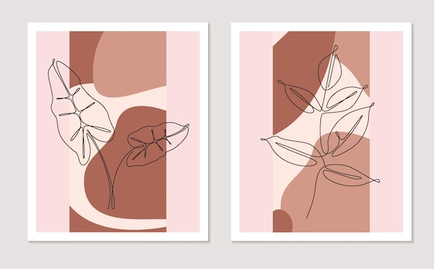 植物の壁アートセット。ヤシの葉と木の枝を描く葉の連続した1本の線