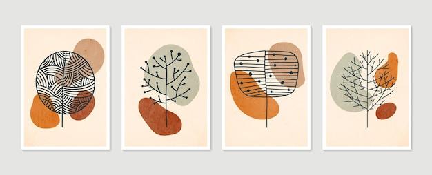 植物の壁アートセットイラスト