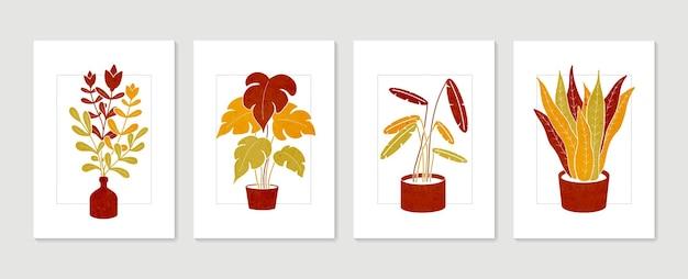 식물 벽 예술 세트. 미니멀하고 자연스러운 벽 예술. boho 단풍 예술 추상 모양으로 그리기.