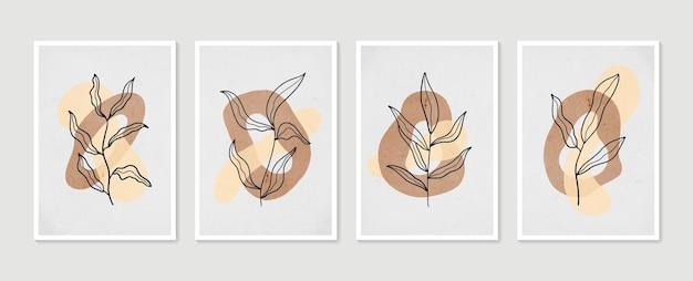 植物の壁アートセット。最小限の自然な壁の芸術。抽象的な形で自由奔放に生きる葉の描画。