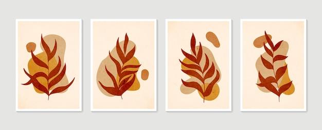 식물 벽 예술 세트 최소한의 자연 벽 예술 boho 단풍 추상 모양으로 그리기