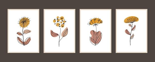 植物の壁アートセット最小限の自然な壁アート抽象的な形で自由奔放に生きる葉の描画
