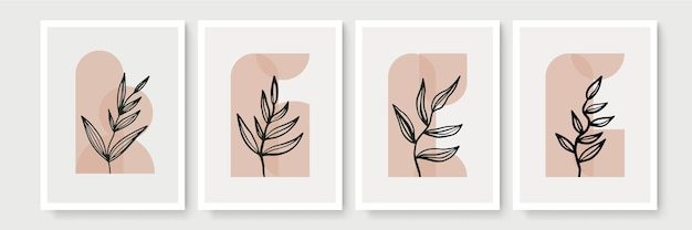 Ботанический настенный набор. минималистичное и естественное настенное искусство. рисование линии листвы бохо с абстрактной формой. современная иллюстрация