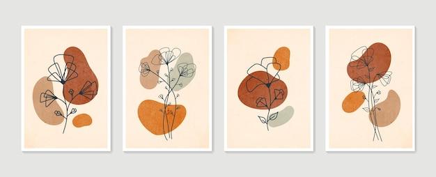 植物の壁アートセット。最小限の自然な壁の芸術。自由奔放に生きる葉の線画の抽象的な形で描画します。